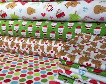 Santa Express Christmas Fabric by Riley Blake Fat quarter Fabric Bundle (4 Fat Quarters)