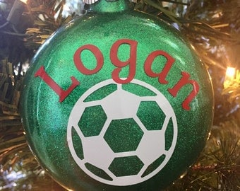Soccer Glitter Ornament, Personalized -  Glass