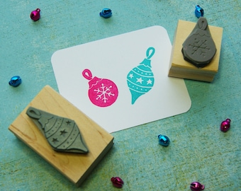 Christmas Stamp - Set of Two Baubles Rubber Stamps - Scrapbooking - Christmas Decorations - Festive Card Making - Retro Christmas - Dangle