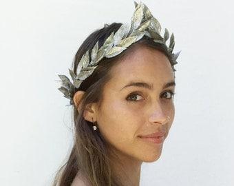Silver Leaf Headband, Silver Crown, Silver Lead Crown, Silver Headpiece, Greek Headband, Leaf Headpiece, Crown, BohoUnisex, Greek Heapiece,