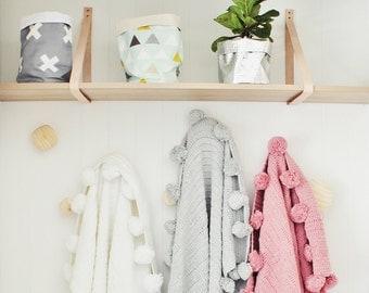 Soft Grey Crochet POM POM blanket
