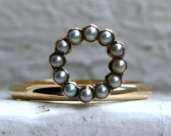 Doux cercle perle Antique bague en or 14K or jaune.
