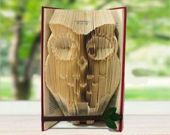 Owl decor folded book art, origami, bookend, paper sculpture, bird ornithology gift, raptor, birds of prey, bird lover gift.
