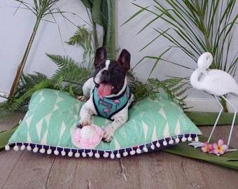 Floor Cushion. Pet Bed. Dog Pillow. Birds of Paradise. Palms. Beach House. 65cm x 55cm. Washable Cover. Custom Available. Australian Made