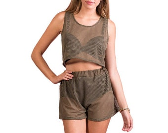 Khaki Fishnet Top and Shorts Two Piece Co-Ord Ibiza Holiday Festival Mesh Sheer Womens Clothing Fashion Party Clubwear Rave Beachwear Summer