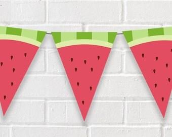 Été anniversaire bannière - bannière parti pastèque - pastèque anniversaire Bunting - bannière du parti de l'été