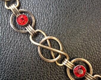 1930s/ 40s gold tone/ rhinestone bracelet