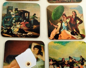 Set Of 6 Cork Back Coasters Depicting A European Theme/Great Used Condition/This Set Includes An Undressed Female Model (G)