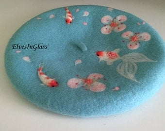 Wool beret with Needle Goldfish and Brocarded Carp in cherry blossoms,Needle Felted hat pattern,romantic beret