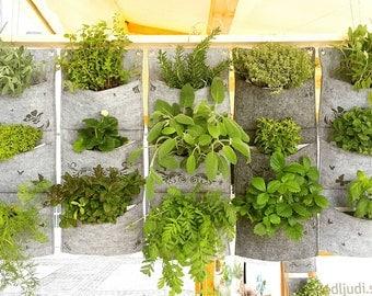 Vertical Planter, Waterproof Wall Planter, Herb Planter, Indoor Wall Planter, vertical garden planter > various laser engravings on felt