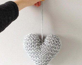 chunky hand knitted hanging heart