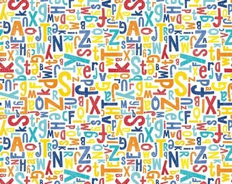 KNIT Fabric: Riley Blake Crayola Alphabet in Multi. Sold by the 1/2 yard