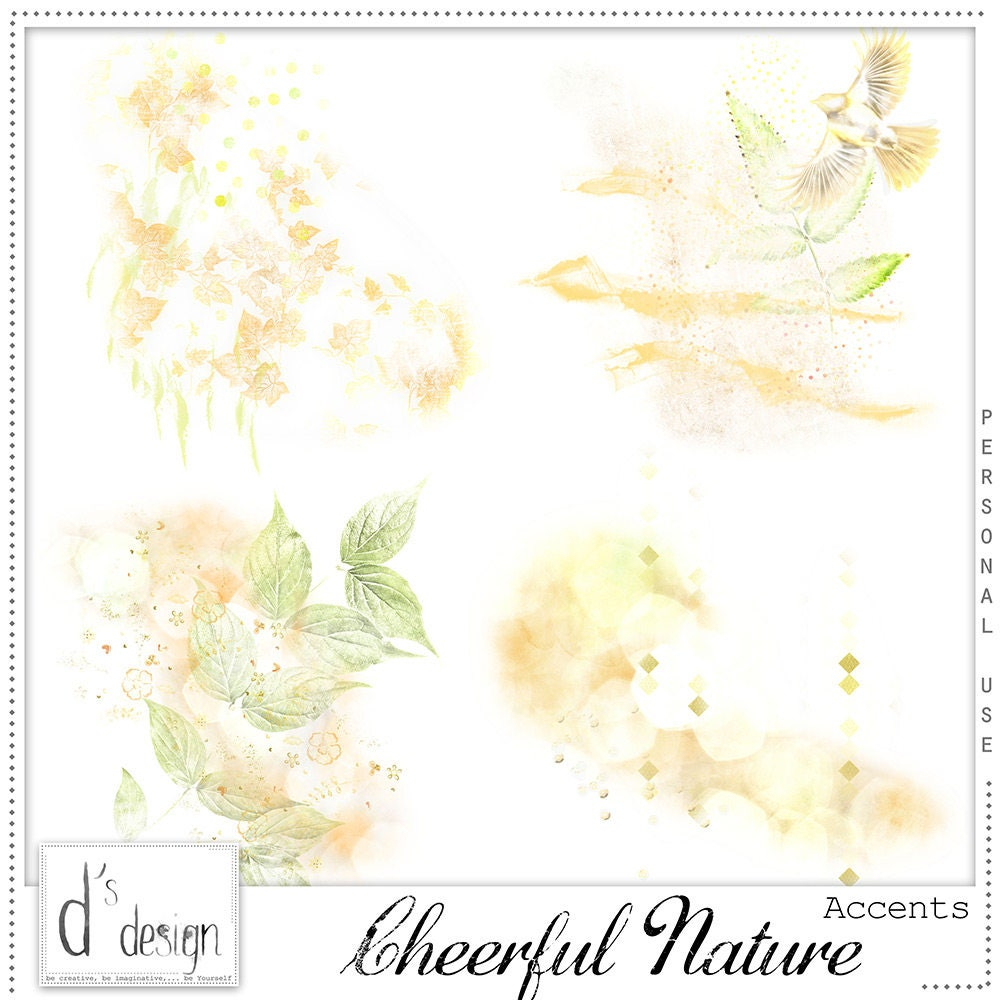 Cheerful nature digital scrapbooking accents floral for Cheerful nature