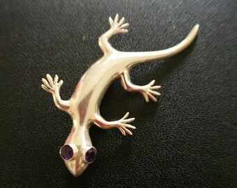 Sterling Silver Lizard Brooch