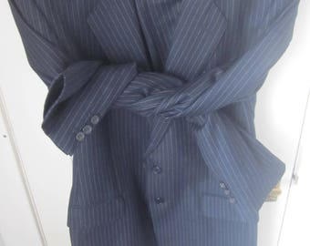 Vintage JAEGER Blue Pinstripe suit. Made in Great Britain 100% wool