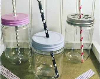 20 Plastic Mason Jars,with 20 lids,  Wedding favor , Birthday party , Bridal Shower, Single hole straw lid, Baby shower, Wedding,17&12