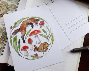 Fox & Hare Spring Meadow Postcard