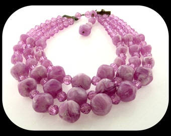"""Vintage Chunky Triple Strand Marbled Marbled Violet -White Lucite Beads NECKLACE 12-14"""""""