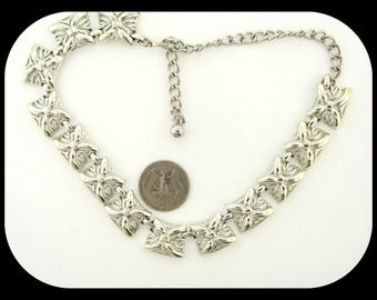 Vintage Signed CORO Silver Plated Textured Link Choker NECKLACE