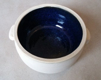 Handmade blue ceramic bowl, casserole, special, Mediterranean, pottery, soup, salad, cereal, white, modern, unique, clay
