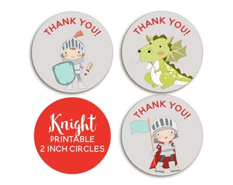 Knight Party, Knight Birthday, Knight Favor Tags, INSTANT DOWNLOAD, Medieval Party, Dragon Themed Party, Knights and Dragon Printable