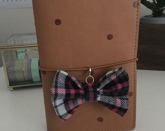 Pink, Black and Grey plaid TN bow