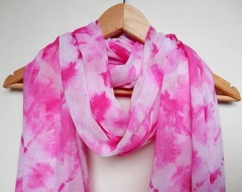 2m x 1m Scarf, Wrap, Sarong, Headscarf - Hand Tie Dyed, Hand Sewn, 100% Cotton, Long Pink Scarf