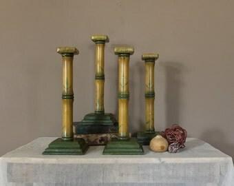 """Set of Four 15"""" Vintage Wood Candlesticks /Vintage Candlestick Holders / Pair Candleholders / Vintage Candleholder / Candle Holder Wood"""