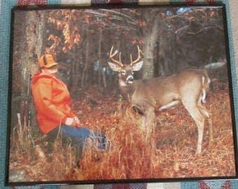 A FUNNY Vintage 70's SLEEPING Deer HUNTER Picture.