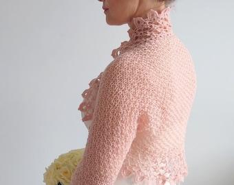 Crochet bolero shrug, rose bolero, bridal jacket, wedding cardigan, dusty pink bolero, short jacket, lace shrug, 3/4 sleeves, fast shipping