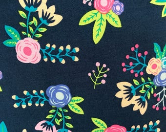 Navy Floral Crib Sheet