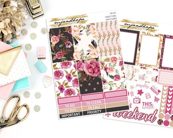 Scarlet Floral   Happy Planner Weekly Sticker Kit   HPK   Planner Stickers