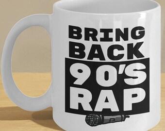 Rap / Hip Hop Gift Mug // 90s Rapper Lover Coffee Cup Art // Rap Music with Microphone Illustration
