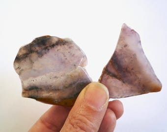 2 small pieces of tumble polished purple lavender agate  stone slabs