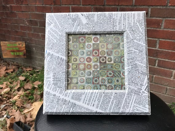 Vintage Dictionary Themed Collage On Wood Frame From