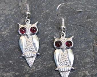 Owl Pewter Earrings