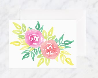 Watercolor Flower Card - Rose Card - Friendship Card - Thinking of You Card - Blank Card - Pink Flower Card - Birthday Card - Floral Card