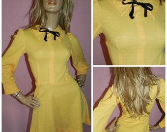 Vintage 60s Yellow Black Ribbon Bow Dolly MOD Mini SCOOTER dress 8 S Xs 1960s Modette Gogo Hand made Kitsch