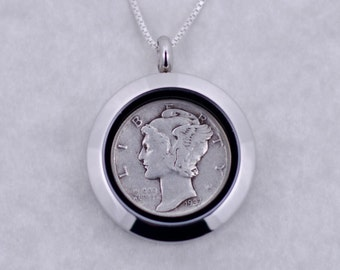 80th Birthday Gift - 1937 Silver Mercury Dime Coin Locket Necklace Jewelry - Birthday Gift for Mother - Birthday Gift for Grandma - Sister