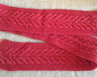 Wool lace scarf, hand-knit