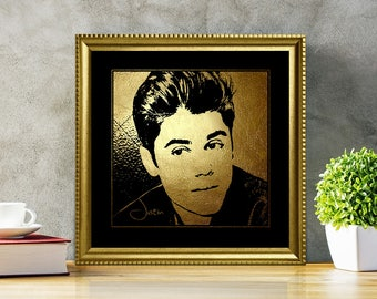 Justin Bieber in Gold - Justin Bieber - Justin Bieber Print - Justin Bieber Poster - Justin Bieber art - illustration - black and gold