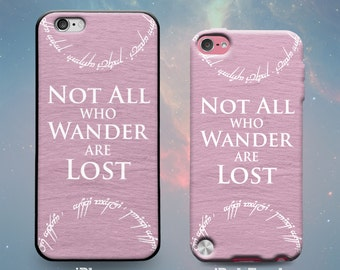 Not All Who Wander Are Lost Tengwar Poem Fantasy Lord of Rings Pink Slate Rubber Case for iPhone 7 6s 6 Plus iPhone SE 5s 5 5c iPod Touch