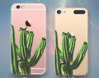 Cactus Tree Spiky Leaves Spines Desert Southwestern Western Fun Awesome Cool Clear Rubber Case for iPhone 7 6s 6 Plus SE 5s 5 5c iPod Touch