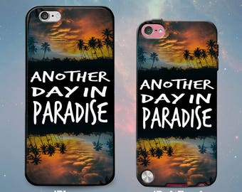 Paradise Quote Palm Trees Sunset Beach Summer Reflection Rubber Case for iPhone 7 6s 6 Plus iPhone SE 5s 5 5c iPod Touch 6th Gen 5th Gen