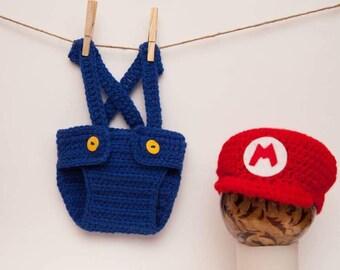 Newborn Mario Crochet set, diaper cover with suspenders amd hat
