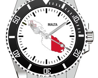 Malta country outline clock - watch 1124