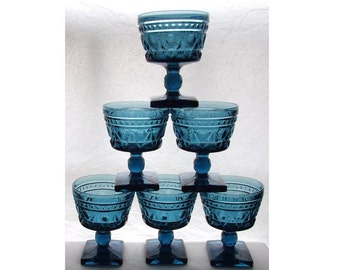 Colony Park Lane.  6 Blue Serberts, Dessert / Champagne Glasses.  Indiana Glass