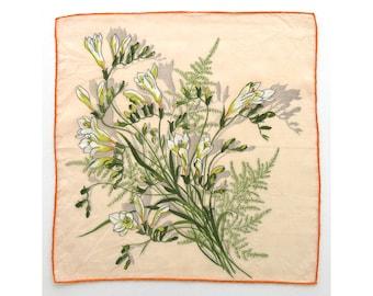 Freesia vintage ladies' floral handkerchief, hanky, hankie, H12