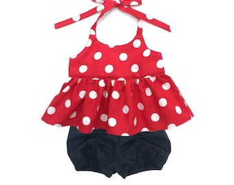 Minnie Peplum Halter Top and Bloomers Set