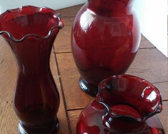Red Glass Flower Vases